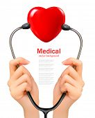 Medical background with hands holding a stethoscope with red heart. Vector.