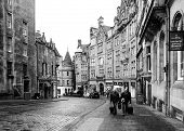 Edinburgh, Scotland-january 20: Black And White Urban Scene In Edinburgh, Scotland, On January 20, 2