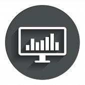 Computer monitor sign icon. Market monitoring.