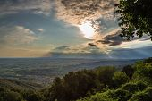 Sunset Between Clouds On Italian Countryside
