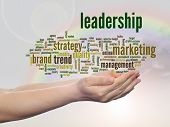 Concept or conceptual abstract leadership or business marketing word cloud or wordcloud in man or wo