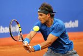BARCELONA - APRIL, 24: Spanish tennis player Rafa Nadal in action during a match of Barcelona tennis