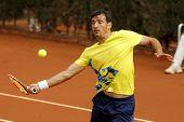 BARCELONA - APRIL, 22: Croatian tennis player Ivan Dodig in action during a match of Barcelona tennis tournament Conde de Godo on April 22, 2014 in Barcelona