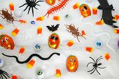 Halloween Trick Or Treats On A White Webbing