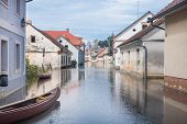 stock photo of flood  - Rural village houses in floodwater - JPG