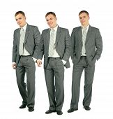 Three Merry Businessmen In Suit Standing On White Background, Collage