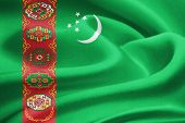 foto of turkmenistan  - Flag of Turkmenistan waving in the wind - JPG