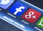 Belgrade - July 11, 2014 Popular Social Media Icons Facebook Google Plus And Other On Smart Phone Sc