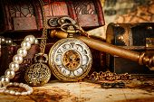 Vintage Antique pocket watch. Vintage grunge still life.