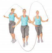 Três mulheres com uma corda de pular, colagem