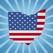 Ohio map flag on blue sunburst illustration