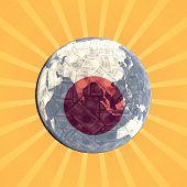 Japanese currency flag globe with sunburst illustration