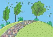 Landscape background. Children vector illustration