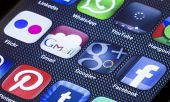 Belgrade - July 05, 2014 Popular Social Media Icons Gmail Google Plus And Other On Smart Phone Scree