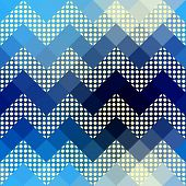 Chevron pattern with dots.