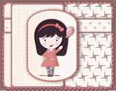 Beautiful Card In Scrapbooking Style With Cute Girl Drawing