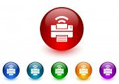 printer internet icons colorful set