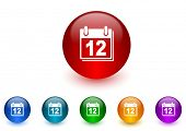 calendar internet icons colorful set