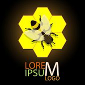 honeycomb logo with bee vector illustration eps 10