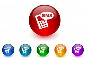 sms internet icons colorful set