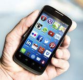 Belgrade - March 16, 2014 Popular Social Media Icons On Smartphone Screen