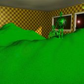 Green Aliens In A Fantastic Room