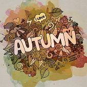 Autumn hand lettering and doodles elements background
