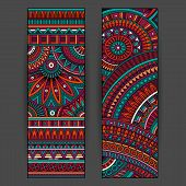 Abstract vector ethnic pattern cards set