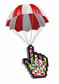 Cursor Hand And Parachute