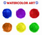 Colorful Watercolor Paint Circles Vector Isolated