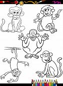 Cartoon Monkeys Coloring Book