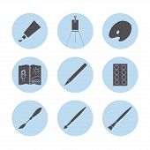 Art materials icons set.