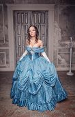 Beautiful Medieval Woman In Long Blue Dress