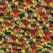 autumn houses seamless pattern