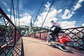 Bike On Red Footbridge