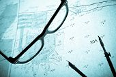 Surveyor's Plan, Circle And Retro Glasses With Backlight