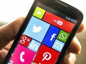 Belgrade - April 08, 2014 Social Media Icons On Smart Phone Screen Close Up