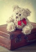 Little teddy bear sitting on a vintage suitcase