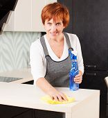 Woman cleaning the kitchen. Adult woman washing house