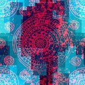 Grunge ornament on geometric background