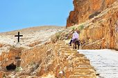 On the road, paved with stone, climbs on a donkey pilgrim in white clothes. Wadi Kelt, the road to t