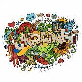 Ukraine hand lettering and doodles elements background