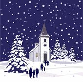 Winter Church at Night