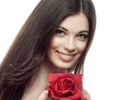 closeup portrait of attractive  caucasian smiling woman brunette isolated on white studio shot lips
