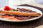 Various Italian Ham, Salami and Bacon. Meat Food