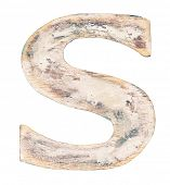 Painted on wood alphabet, letter S