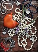 vintage postcard with women's jewelry trinkets