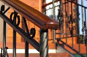 Wooden Hand-rail Close-up Partially Defocused Diagonal