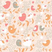 Vintage floral seamless pattern with birds in vector