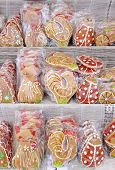 Sweet Colorful Gingerbread Wrapping In Cellophane